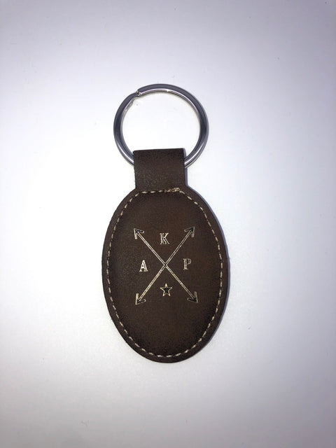 Oval Leatherette Keychain