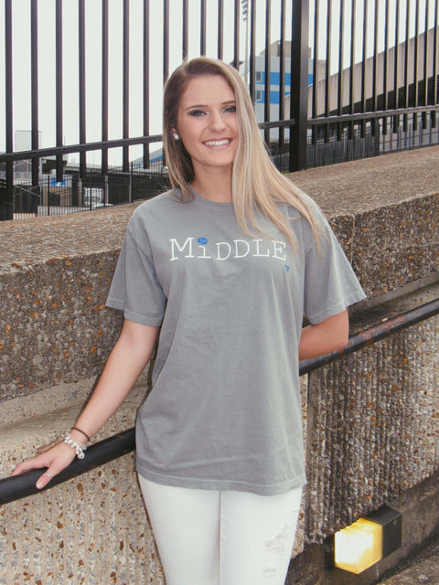 Short Sleeve Grey Middle TN T-shirt, Unisex - Women & Men's Wear