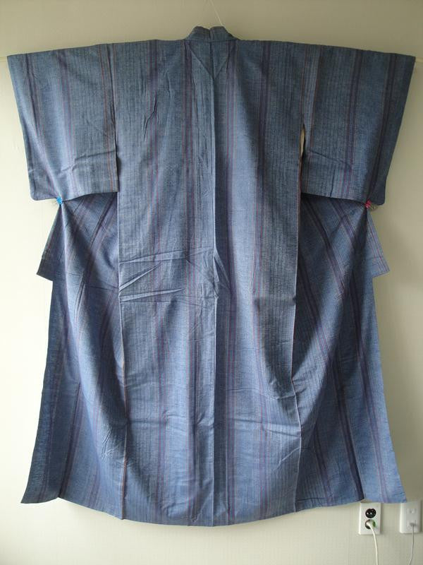 Komon in Chambray Tsumugi w/ Stripes