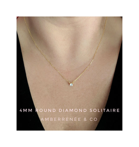 4mm Round Diamond Solitaire Necklace