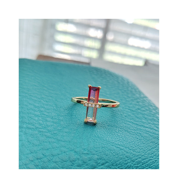 14k Elongated Emerald Faded Pink Tourmaline Ring