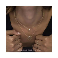 18k Mini Crescent Embellished Moon Horn Necklace