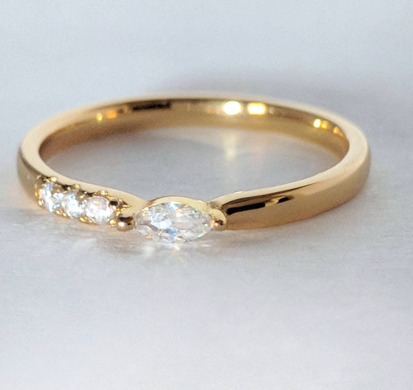 East West Diamond Cut Marquise, Side Petite Diamonds, 14k Gold Filled Dainty Gold Ring Bijou