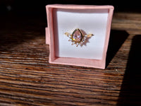 Pink Champagne Diamond Teardrop Pear Ring with Sunburst, Dainty 14k Gold Filled Bijou