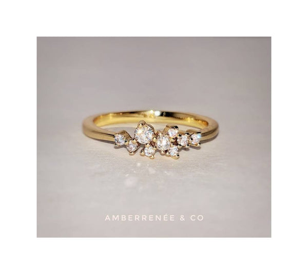 Diamond Cluster Ring, 14k Gold Filled Petite Dainty Ring Bijou