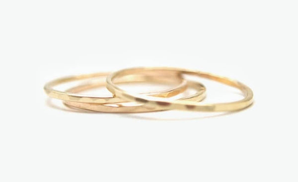 18k Yellow Gold Filled Slim Hammered, Plain Stackers Rings