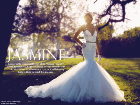 Lauren Elaine Bridal Jasmine mermaid wedding gown.