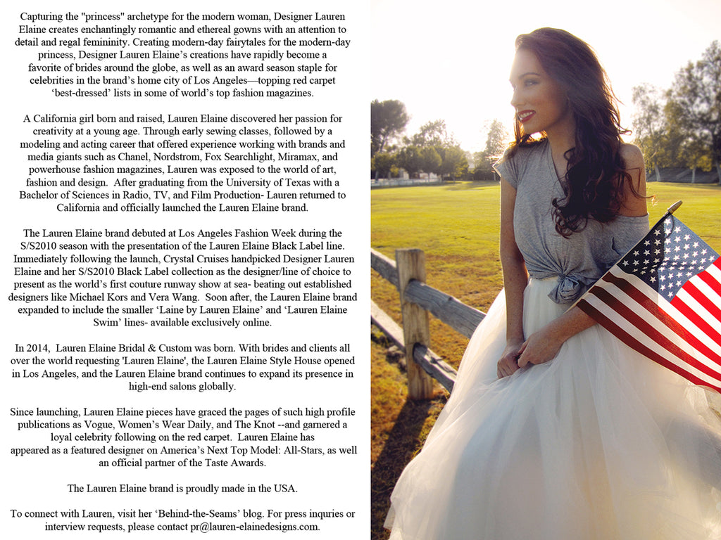 Biography of Fashion Designer Lauren Elaine.