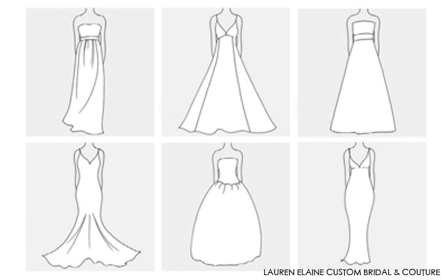 Design your own wedding gown silhouette with Lauren Elaine custom design services.