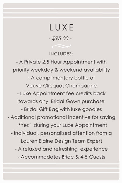 "Book a ""Luxe"" appointment at the Lauren Elaine Bridal Trunk Show in Chicago, Il"