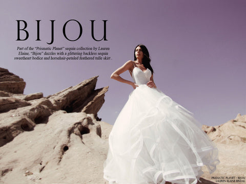 Bijou by lauren elaine sequin ball gown wedding dress look book cover prismatic planet
