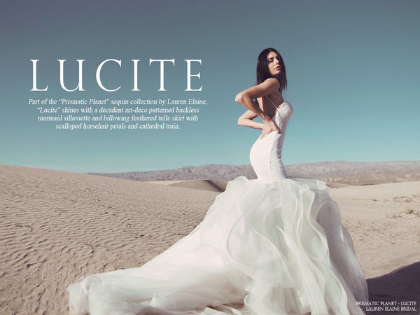 lauren elaine lucite sequin mermaid wedding gown look book cover