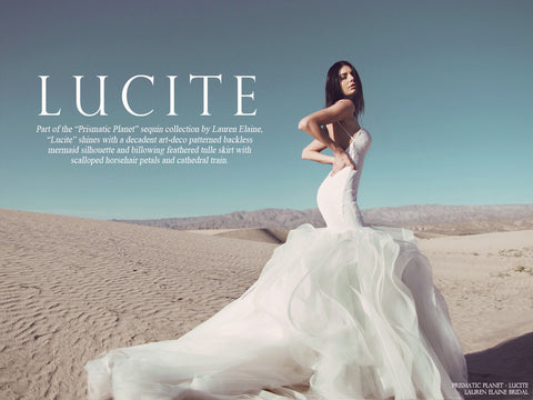 lucite by lauren elaine sequin horsehair tulle mermaid wedding gown with cathedral train look book cover
