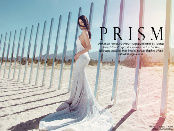 Prism sequin form fit wedding gown by lauren elaine lookbook