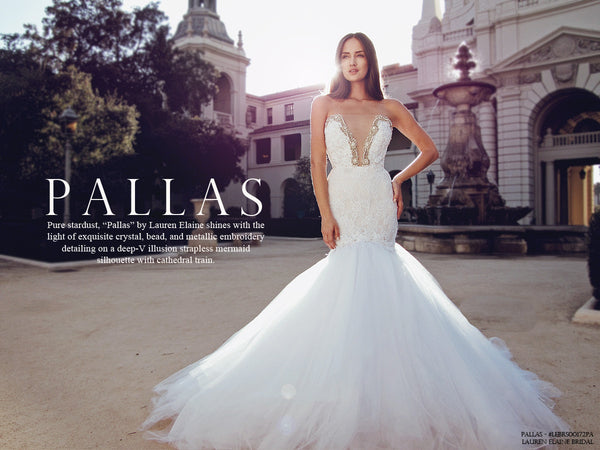 Deep v crystal illusion mermaid wedding gown cathedral train lookbook pallas by lauren elaine