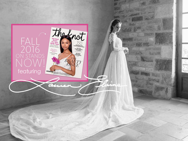 Alyssa Campanella Coomb's custom Lauren Elaine wedding gown and bridal receiption dress in the Knot Fall 2016 Issue