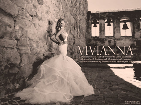 Vivianna by Lauren Elaine Bridal. Backless mermaid wedding gown with train.