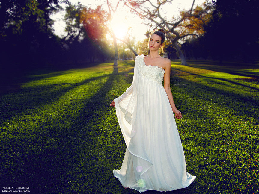 Draped chiffon A-line one-shoulder wedding gown with floral butterflies and Swarovski crystals