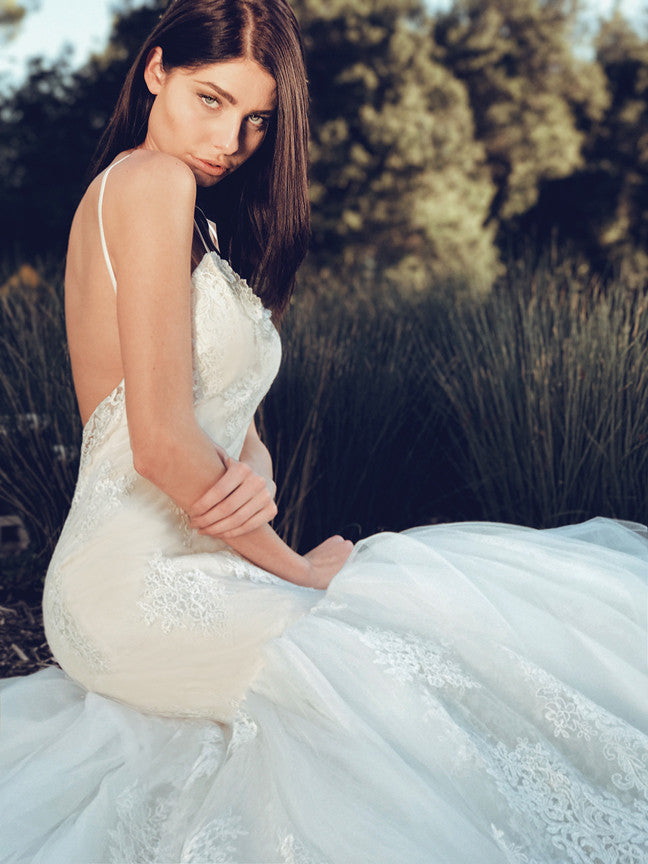 Arabelle illusion lace designer couture wedding gown by Lauren Elaine