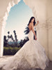Backless lace mermaid wedding gown with blush nude illusion underlay and stretch satin form fit body
