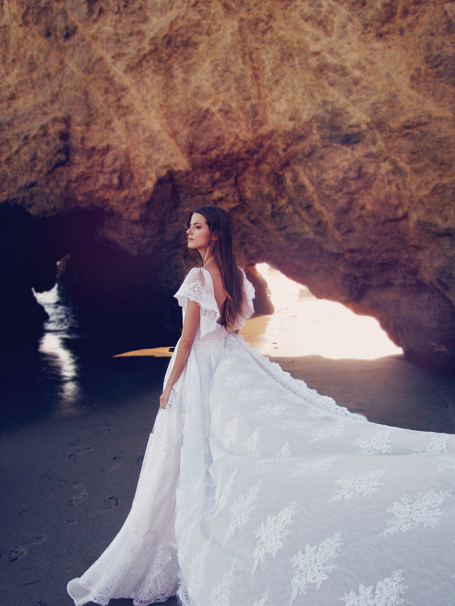 Ethereal and bohemian wedding dresses and bridal gowns for destination weddings by Lauren Elaine.