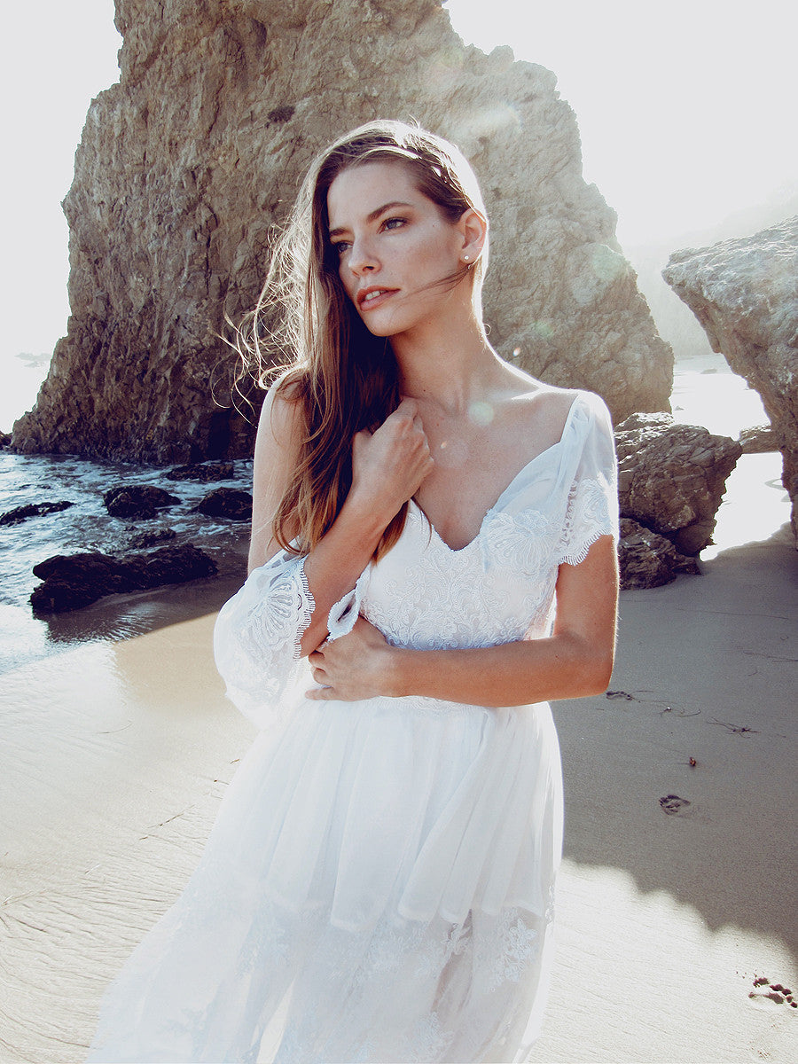 Boho chic destination wedding gowns and bridal dresses by Lauren Elaine.