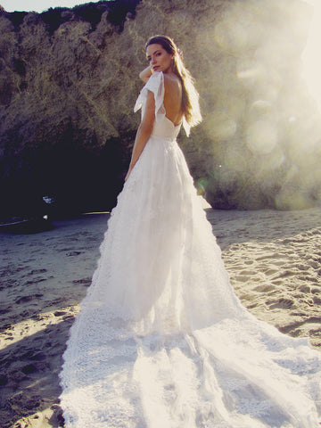 Bohemian wedding gown and bridal dresses by Designer Lauren Elaine in Los Angeles, California