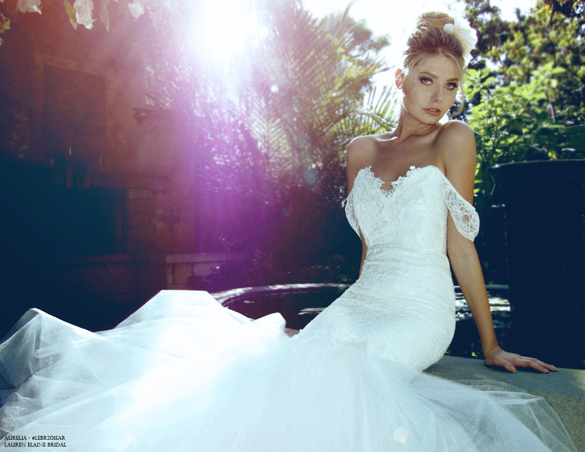 Aurelia Wedding dress. Mermaid silhouette of tulle and lace. Affordable, Designer Bridal.