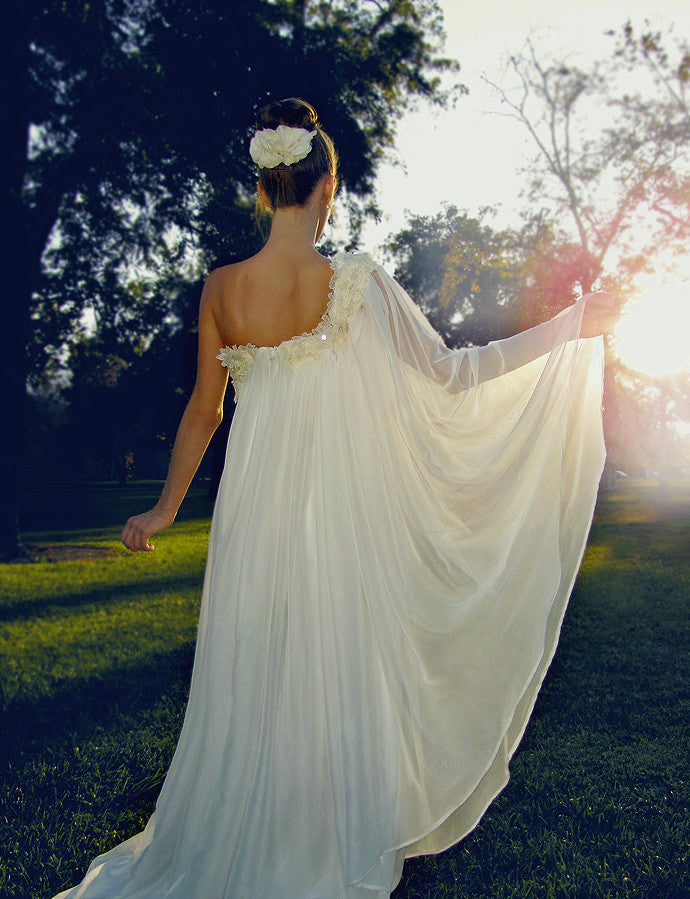 Ethereal grecian bohemian one-shoulder bridal gown with chiffon and lace