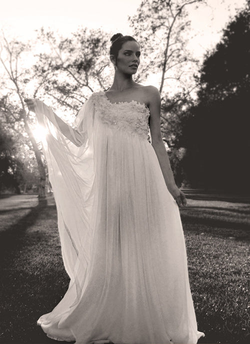 Aurora gown by Lauren Elaine Bridal, ethereal one-shoulder bridal gown