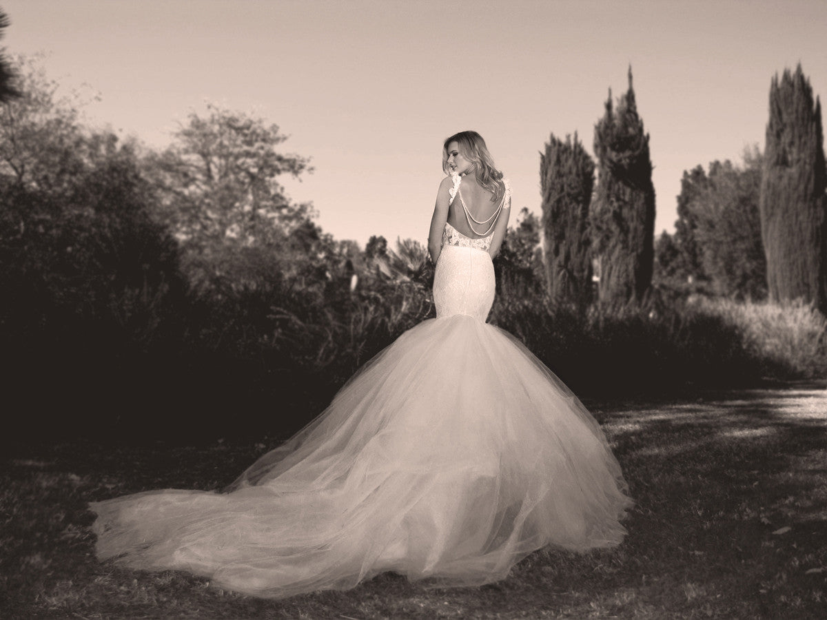 Mermaid wedding gown with detachable cathedral train. Oriana by Lauren Elaine.