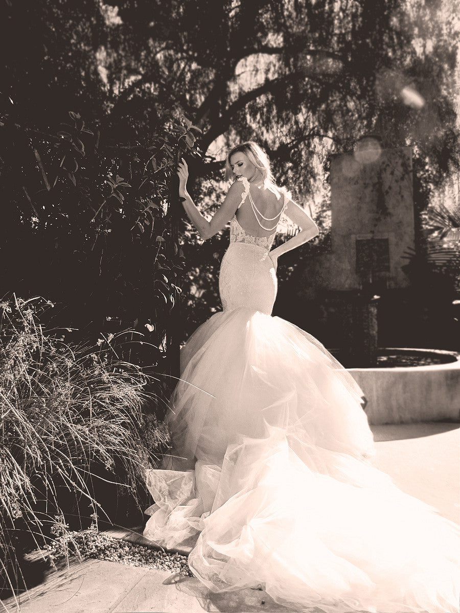 Detachable cathedral train mermaid wedding gown by Lauren Elaine Bridal.