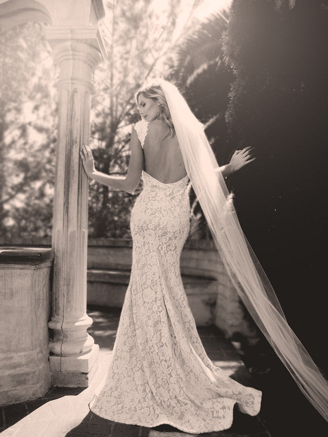 Backless lace wedding gowns by Lauren Elaine Bridal. Los Angeles Bridal Salon.