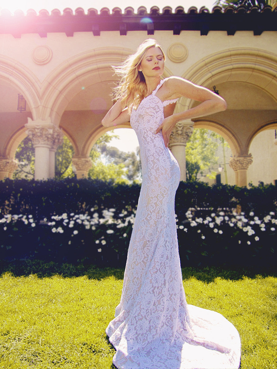 Backless lace trumpet illusion Amara wedding dress by Lauren Elaine