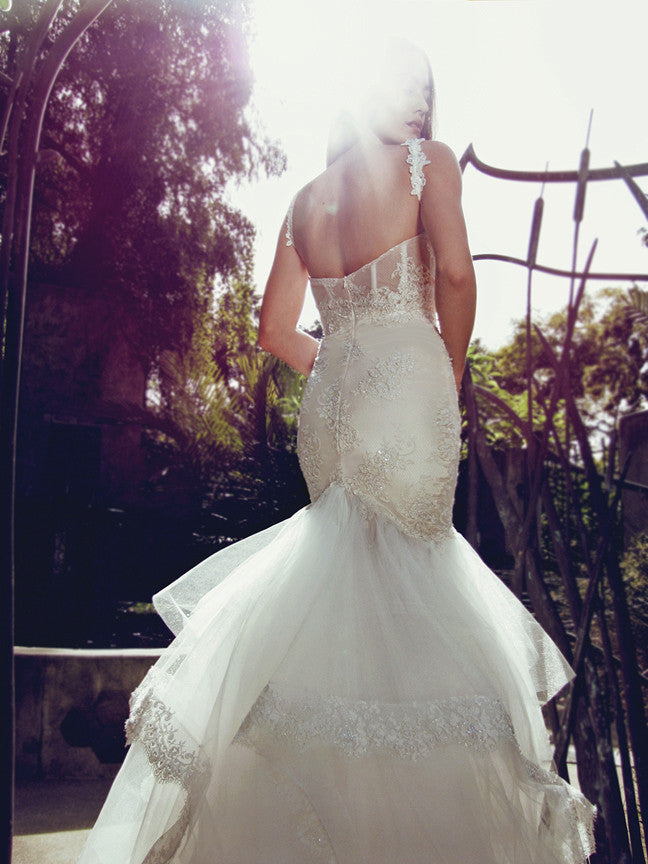 backless corset mermaid wedding gown sparkle sequin pearl crystal lace blush sexy bridal gown