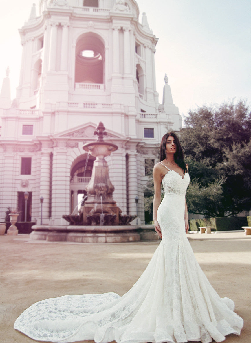 Dramatic mermaid and trumpet wedding dress by Lauren Elaine Bridal in Los Angeles, CA.