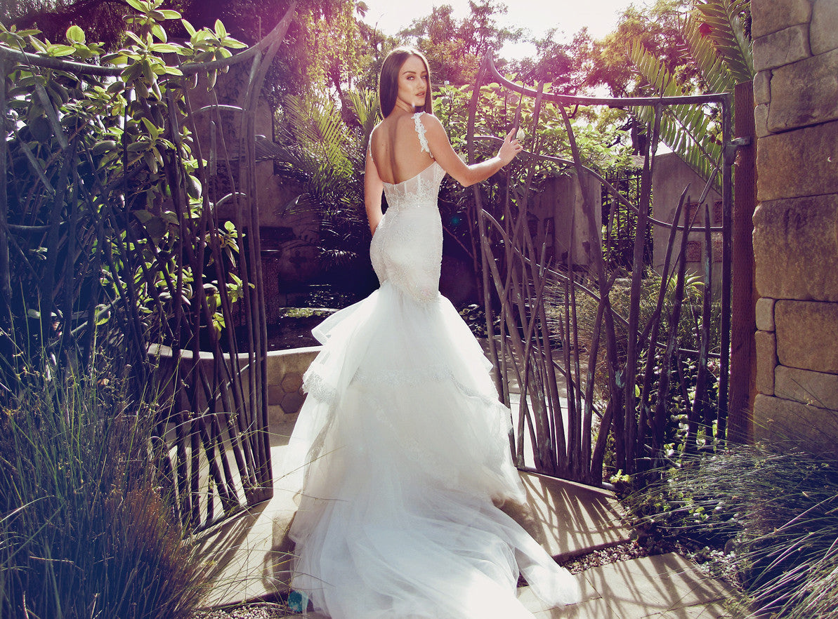 crystal beaded mermaid wedding dress with backless corset design