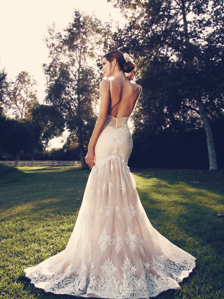 Vaile by Lauren Elaine blush mermaid wedding gown with illusion back and scalloped lace train.