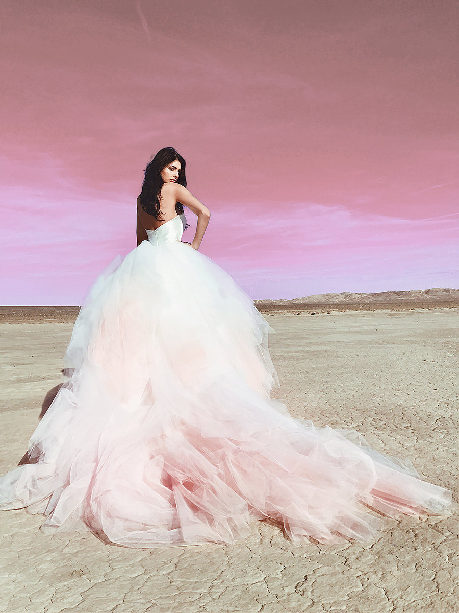"Lauren Elaine ""Aria"" blush ombré colored tulle ball gown wedding dress with detachable cathedral train and satin strapless sweetheart bodice."