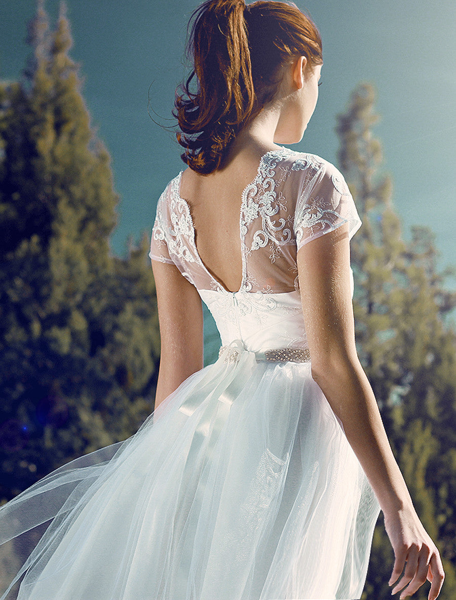 Backless wedding gown. Open back lace illusion wedding dress. Briar Rose by Lauren Elaine Bridal.