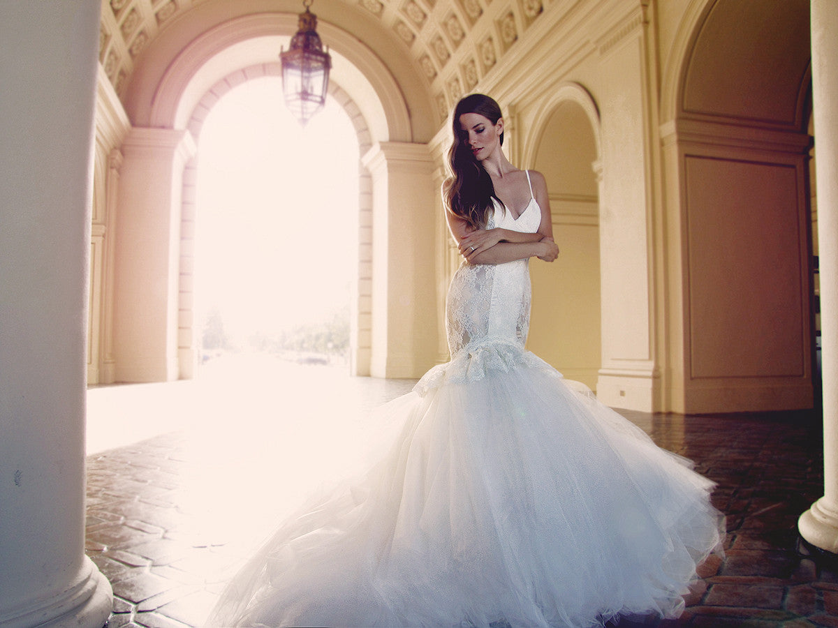 Glamorous Catania wedding gown style by Lauren Elaine Bridal.