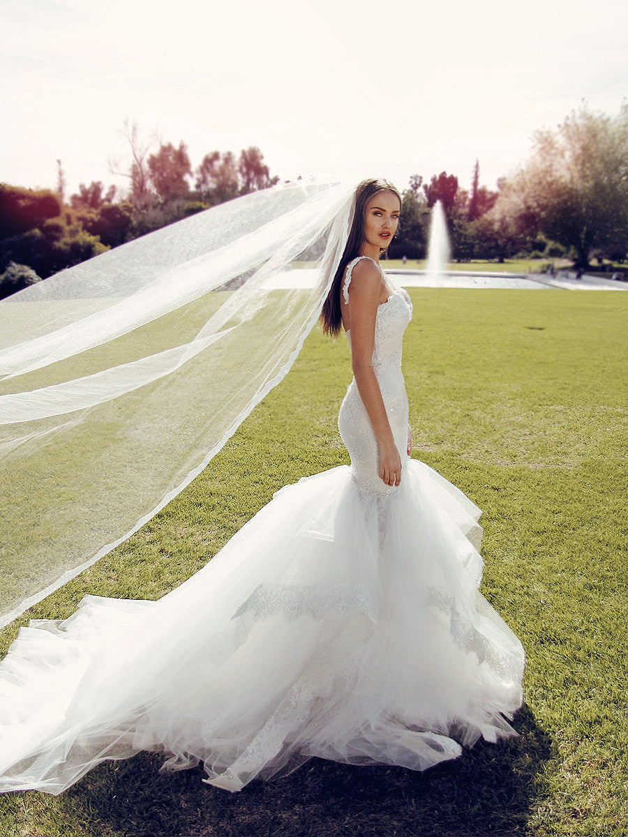 Mermaid wedding dress wedding gown cathedral tulle train cathedral tulle veil