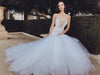 dramatic tulle mermaid wedding gown detachable cathedral train crystal bling detailing