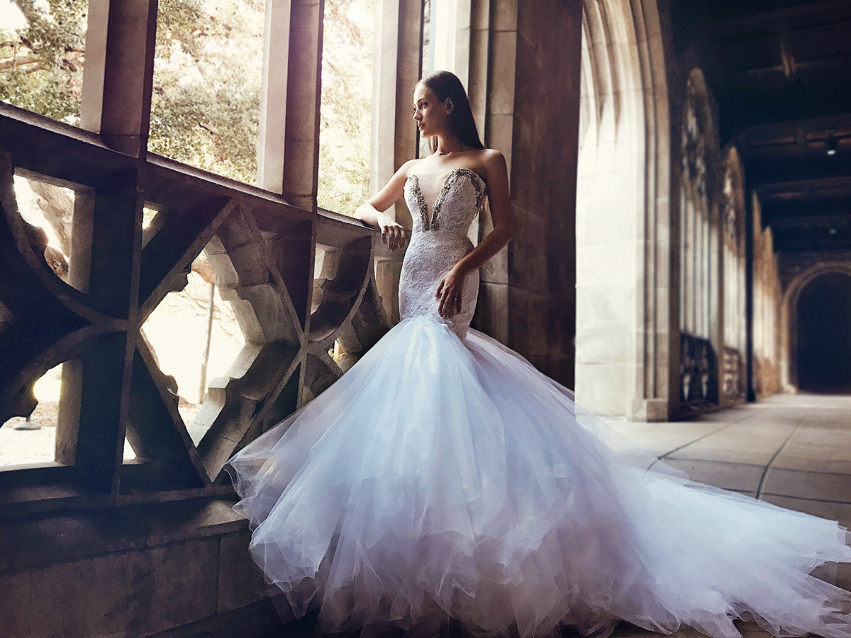 fairytale tulle mermaid wedding gown cathedral train sparkle crystal bead detailing
