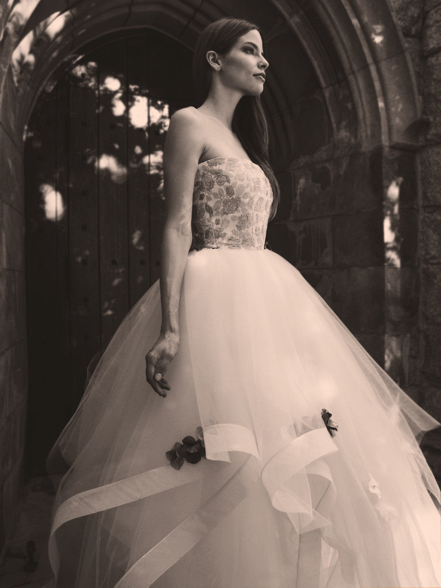 """Fleur"" by Lauren Elaine Bridal in black and white."
