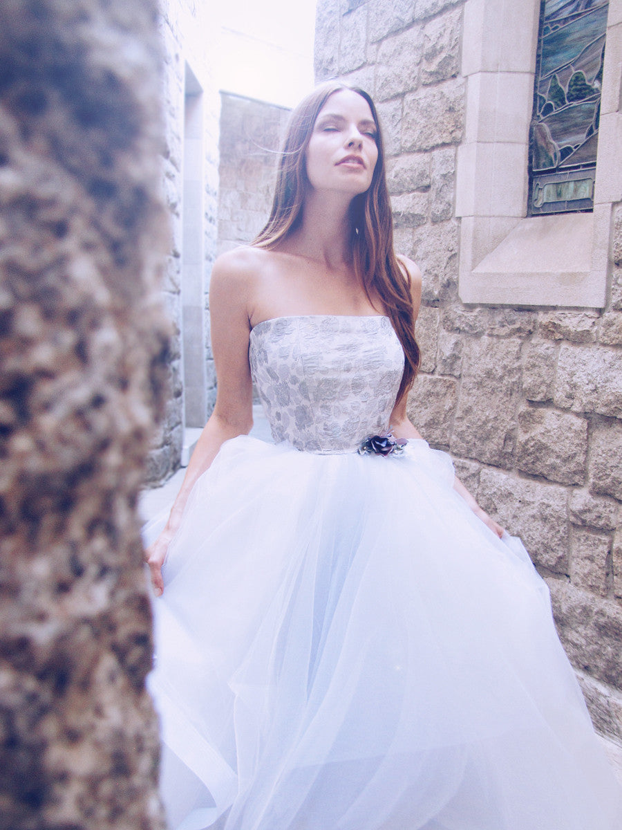 Blue and blush wedding gowns and wedding dresses by Lauren Elaine Bridal.