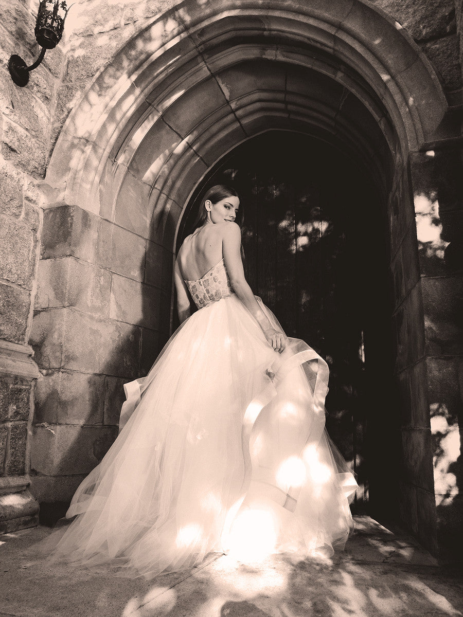 Strapless princess fairytale wedding gowns by Lauren Elaine Bridal.