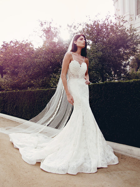 Ivory lace illusion wedding gown with horsehair scallop and cathedral train and veil by Lauren Elaine Bridal