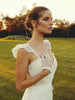 Lauren Elaine Gardenia gown, french lace trumpet with ruffled sleeves