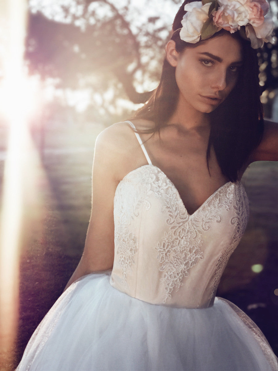 French embroidered ballerina lace wedding dress with sweetheart bodice and spaghetti straps